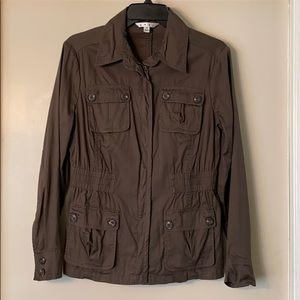 CAbi Utility Jacket Olive Brown Sz S